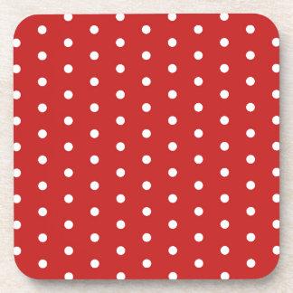 white_polka_dot_red_background pattern retro style beverage coaster