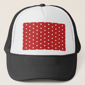 white_polka_dot_red_background pattern retro style trucker hat