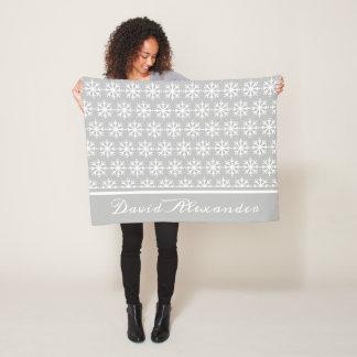 White Polka Dot Snowflake on Ash Grey Personalized Fleece Blanket