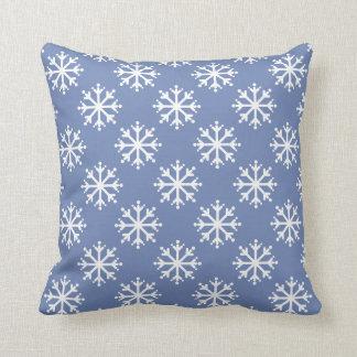 White Polka Dot Snowflakes on Blue Throw Pillow