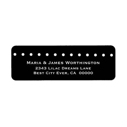 WHITE Polka Dots BLACK Background Wedding V037 Return Address Label