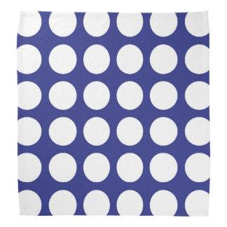 White Polka Dots Blue Bandana