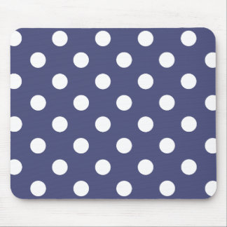White polka dots in blue mouse pad