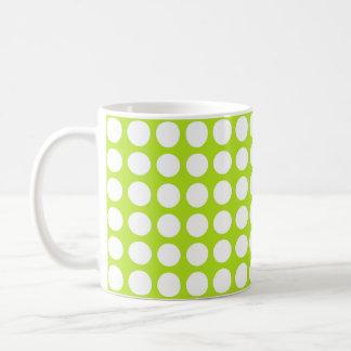 White Polka Dots Lime Green Coffee Mug