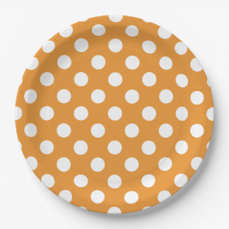 White polka dots on amber 9 inch paper plate