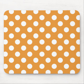 White polka dots on amber mouse pad