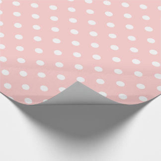 White Polka Dots on Baby Pink Wrapping Paper
