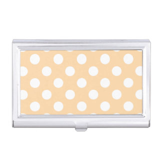 White polka dots on beige business card case