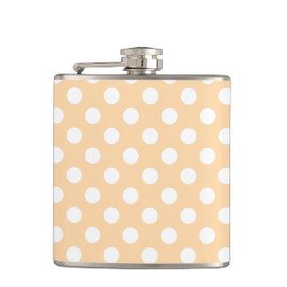 White polka dots on beige flasks