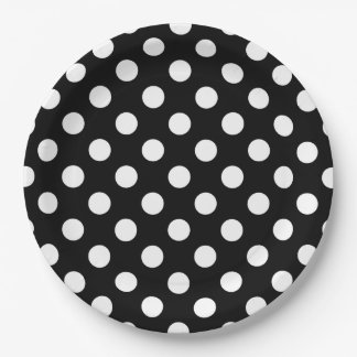 White polka dots on black 9 inch paper plate