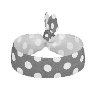 White Polka Dots on Black Background Elastic Hair Tie