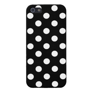 White Polka Dots on Black Background iPhone 5/5S Cases