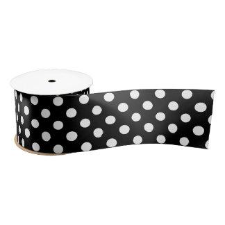 White Polka Dots on Black Background Satin Ribbon