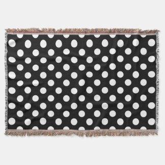 White polka dots on black throw blanket