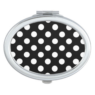 White polka dots on black travel mirror