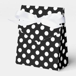 White polka dots on black wedding favor box