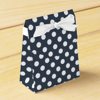 White polka dots on blue-gray favor box