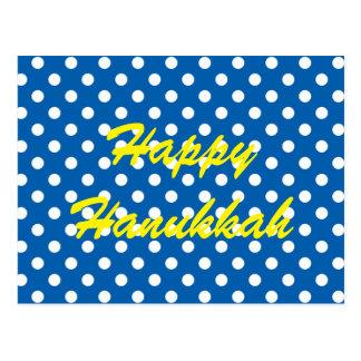 White Polka Dots on Blue Happy Hanukkah Postcard