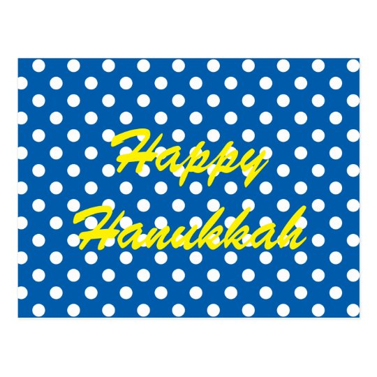 White Polka Dots on Blue Happy Hanukkah Postcard
