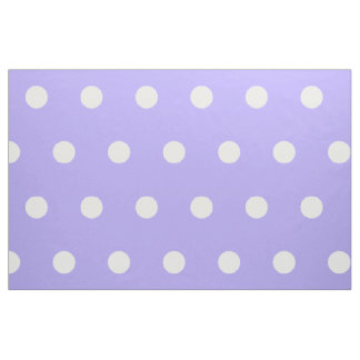 White Polka Dots on Blue Lilac Fabric
