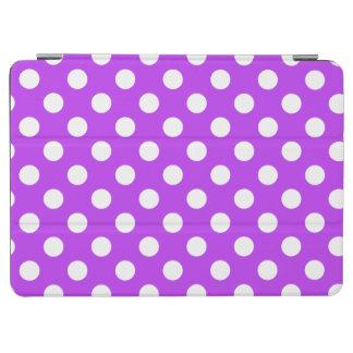 White polka dots on bright purple iPad air cover