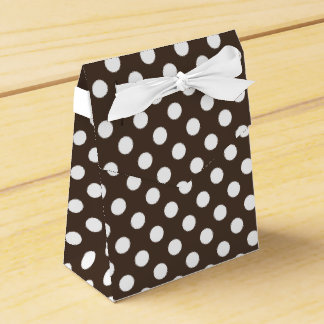 White polka dots on brown favor boxes