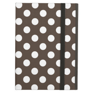 White polka dots on brown iPad air cover