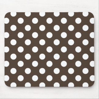 White polka dots on brown mouse pad