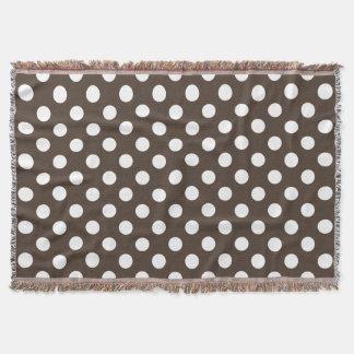 White polka dots on brown throw blanket