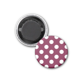 White polka dots on burgundy 1 inch round magnet