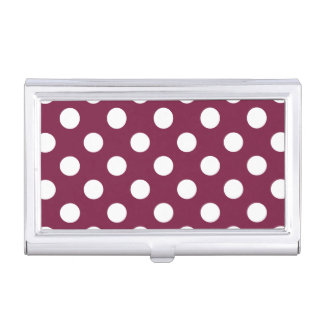 White polka dots on burgundy business card cases