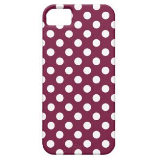 White polka dots on burgundy case for the iPhone 5