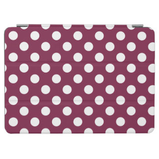 White polka dots on burgundy iPad air cover