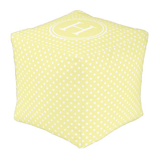 White Polka Dots on Butter Yellow Monogram Pouf