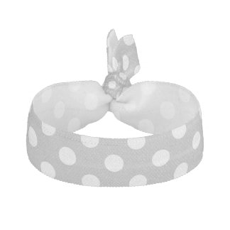 White Polka Dots on Chrome Grey Background Hair Tie