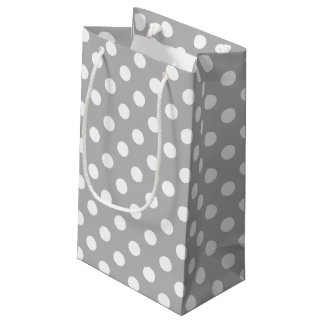 White Polka Dots on Chrome Grey Background Small Gift Bag