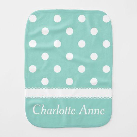 White Polka Dots on Cool Aqua Personalized Baby Burp Cloth