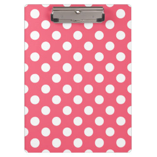 White polka dots on coral clipboards
