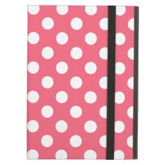 White polka dots on coral iPad air case