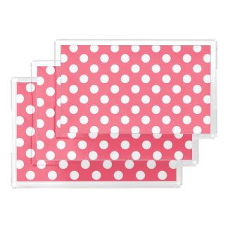 White polka dots on coral serving tray