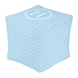 White Polka Dots on Cottage Blue Monogram Pouf