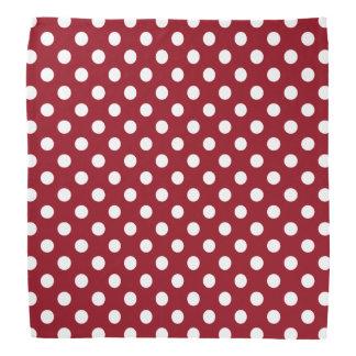White Polka Dots on Crimson Red Bandana