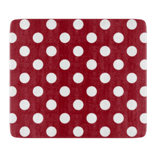 White Polka Dots on Crimson Red Cutting Board