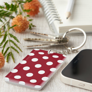 White Polka Dots on Crimson Red Double-Sided Rectangular Acrylic Keychain