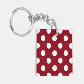 White Polka Dots on Crimson Red Double-Sided Square Acrylic Keychain