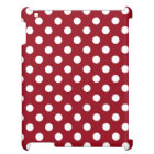 White Polka Dots on Crimson Red iPad Cover