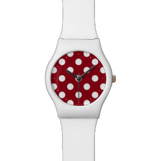 White Polka Dots on Crimson Red Wristwatch
