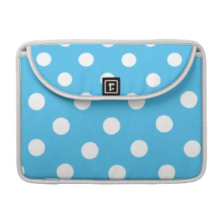 White Polka Dots on Cyan Blue Sleeve For MacBooks