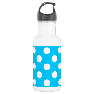 White polka dots on electric blue