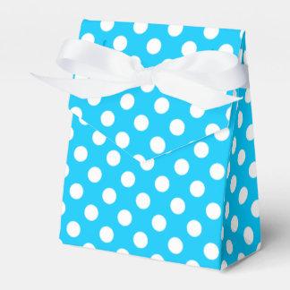 White polka dots on electric blue favor box
